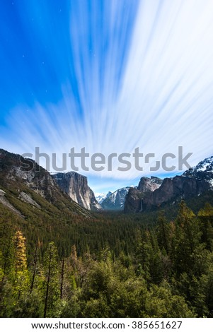 Long exposure and moving cloudy at Tunnel View, Yosemite National Park - stock photo