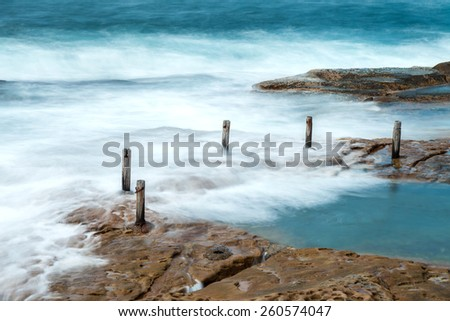 Long exposure at South Coogee rock pool, New South Wales - stock photo