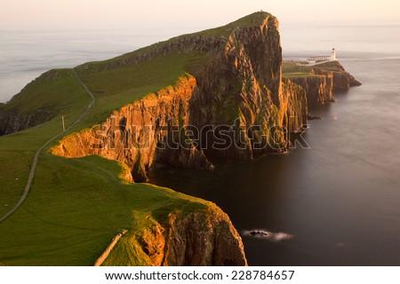 Long exposure image at Neist point lighthouse, Isle of Skye, Scotland - stock photo