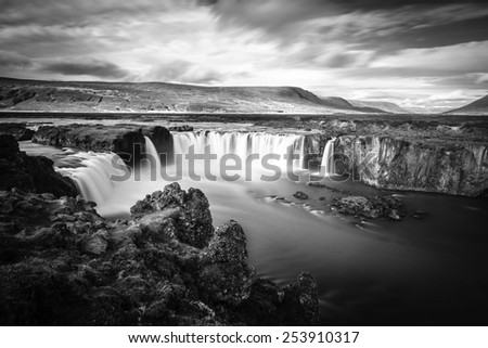 Long exposure image of Godafoss waterfall in Iceland - stock photo