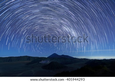 Long exposure image showing star trails over Mt.Bromo Volcano, East Java,Indonesia - stock photo