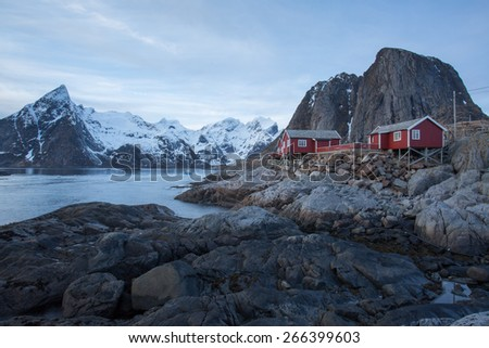 Long exposure, late afternoon view of traditional fishing cabins, Hamnoy, Lofoten, Norway - stock photo