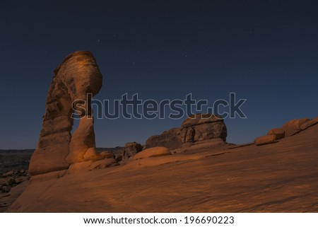 Long exposure night photography of famous landmark Delicate Arch - Arches National Park Moab Utah. - stock photo