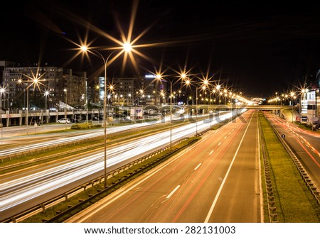 long exposure night traffic Belgrade, Serbia - stock photo