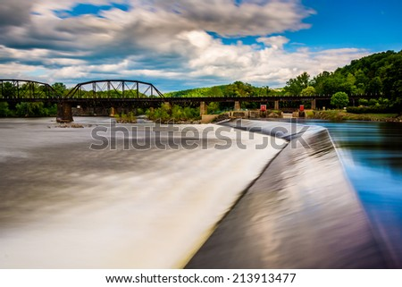 Long exposure of a dam  on the Delaware River in Easton, Pennsylvania. - stock photo