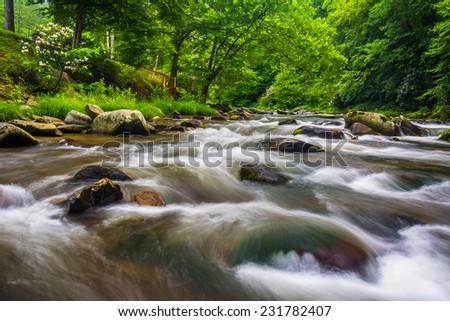 Long exposure of cascades on Raven Fork, near Cherokee, North Carolina. - stock photo