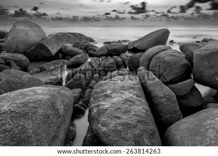 Long Exposure of Sunset at the sea,Larn hin khao , Rayong,Thailand - stock photo