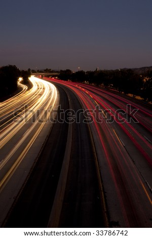 Long Exposure of Traffic at Dusk - stock photo