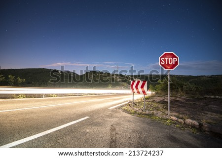 long exposure on road at night - stock photo