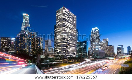 Long exposure overlooking downtown Los Angeles 110 freeway at dusk  - stock photo
