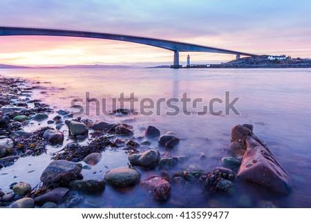 Long exposure seascape of the Isle of Skye Bridge in Scotland - stock photo