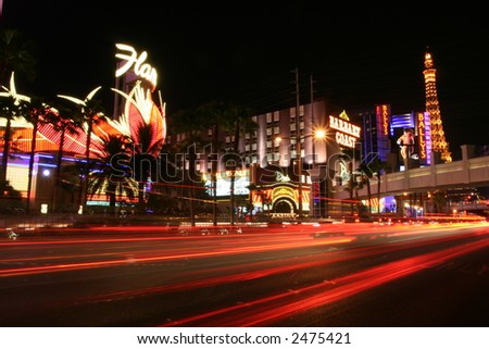 long exposure shot of a Las Vegas night scene - stock photo