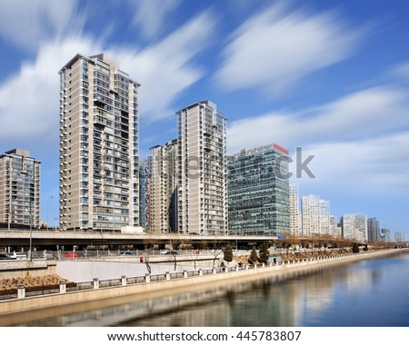 Long exposure shot of Beijing Central Business District, Beijing, China - stock photo