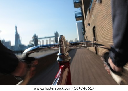 Long exposure taken from a camera fixed on a fixed gear bicycle  - stock photo