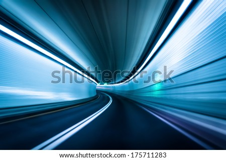 Long exposure taken in the Fort McHenry Tunnel, Baltimore, Maryland. - stock photo