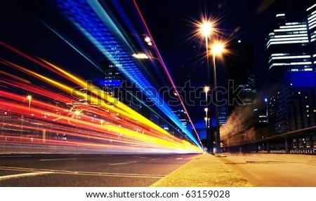 long exposure traffic shots - stock photo
