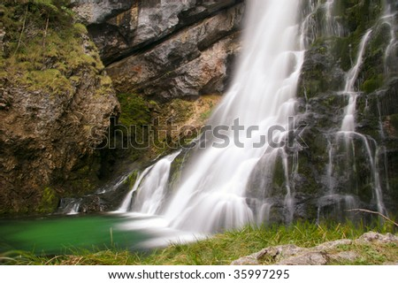 long exposure waterfall in austrian mountains - stock photo