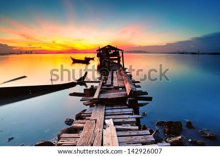 long fishing pier at Jelutong Penang, Malaysia - stock photo