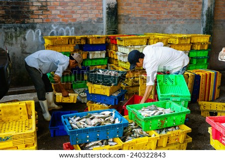 LONG HAI, VIETNAM, DEC 21 2014: People's Daily life, fishing village with a lot of fish in fishing basket at traditional fish market on the Long Hai beach. This market only happens in early morning. - stock photo