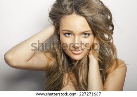 long hair beauty. studio shot, horizontal. - stock photo