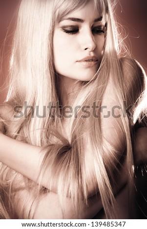 long hair blond beauty woman portrait - stock photo