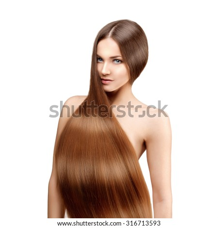 Long hair. Hairstyle. Hair Salon. Fashion model with shiny hair. Woman with healthy hair girl with luxurious haircut. Hair loss - stock photo