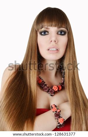 long hair of fashion young woman - stock photo