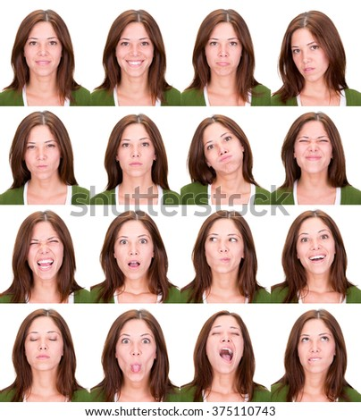 long hair red head young casual caucasian woman collection set of face expression like happy, sad, angry, surprise, yawn isolated on white - stock photo