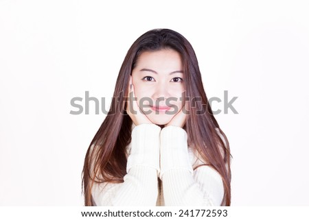 Long-haired Chinese Girl cupping her chin in hands - stock photo