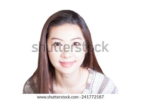 Long-haired Chinese Girl Headshot - stock photo
