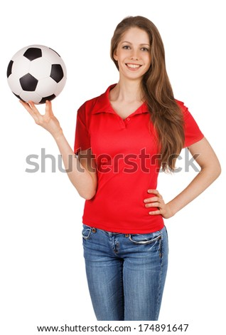 Long-haired pretty girl with a soccer ball - stock photo