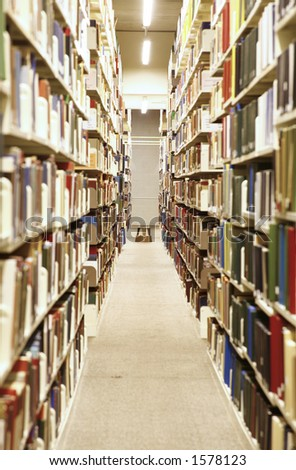 Long hallway in a library - stock photo