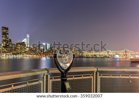 Long Island City, New York - January 2, 2016: New York City skyline view from Gantry Park, Long Island City, Queens. - stock photo