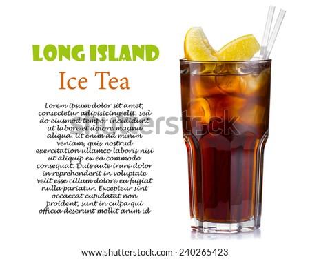 Long island ice tea cocktail isolated on white background - stock photo