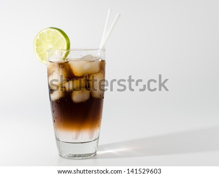 Long Island Iced Tea: one of the most popular alcoholic coctails in the US - stock photo