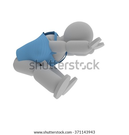 Long jumper puppet with sport shirt isolated over white, 3d render - stock photo