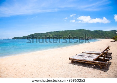 Long Kuta  sand  beach, Lombok, Indonesia - stock photo