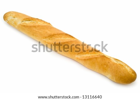 Long loaf. French bread on a white background - stock photo