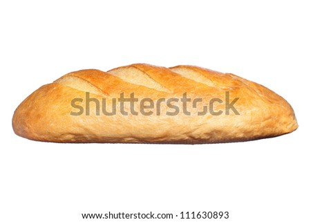 long loaf isolated on a white background - stock photo