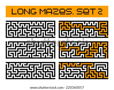 long mazes set 2 - stock photo