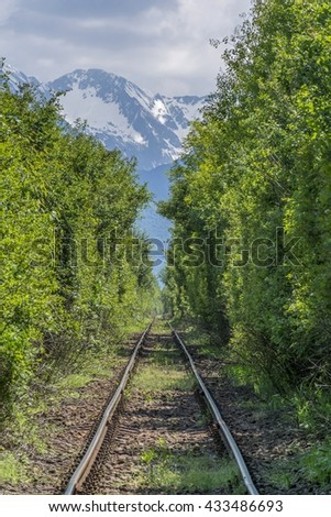 Long old railway in the forest through the mountains - stock photo