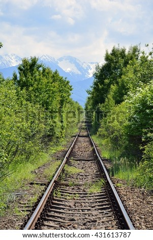Long old railway in the forest with mountains in background - stock photo