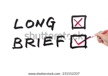 Long or brief words written on white board - stock photo