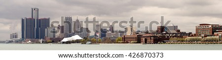 Long Panoramic Detroit Michigan River Downtown City Skyline - stock photo