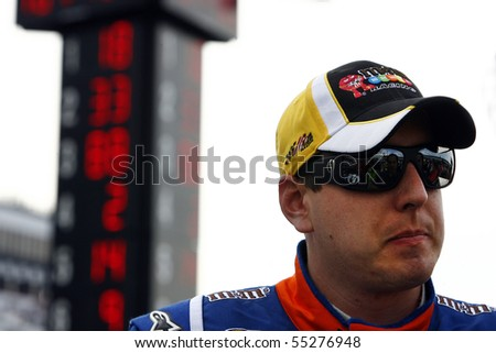 LONG POND, PA - JUNE 04: Kyle Busch after qualifying for the top spot for the Gillette Fusion ProGlide 500 race at the Pocono Raceway in Long Pond, PA on June 4th, 2010 - stock photo