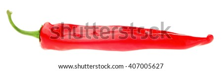 Long Red Hot Chili Pepper. Isolates on white background. - stock photo