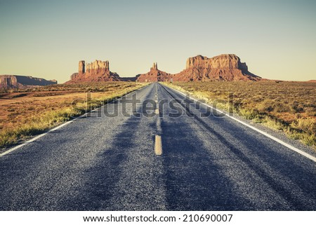 Long road to Monument Valley, USA  - stock photo