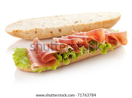 Long sandwich preparation. Isolated on white. - stock photo