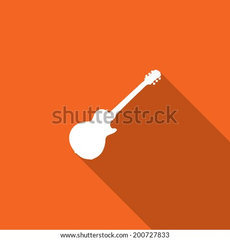 Long Shadow with the shape of a Guitar - stock photo