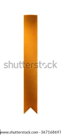 Long, shiny golden ribbon bookmark for use as a page reminder or divider. Photographed isolated on a white background. An attractive design element for web pages and brochures. - stock photo